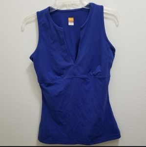 Lucy Active Blue Sleevless Deep V-Neck Top